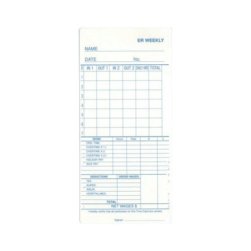 Erw Time Cards – Packet Of 100