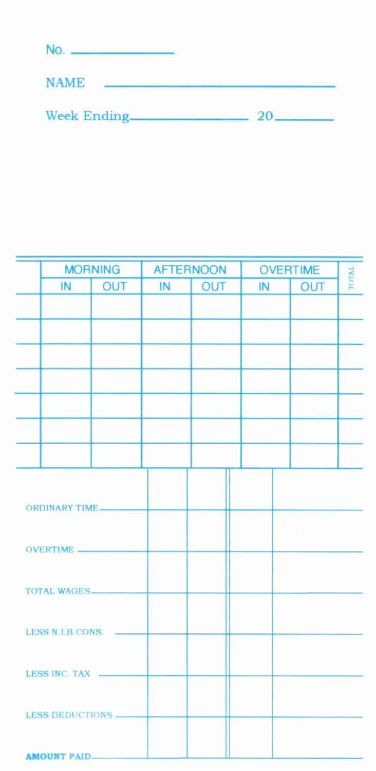 K7 Time Cards - Packet of 100