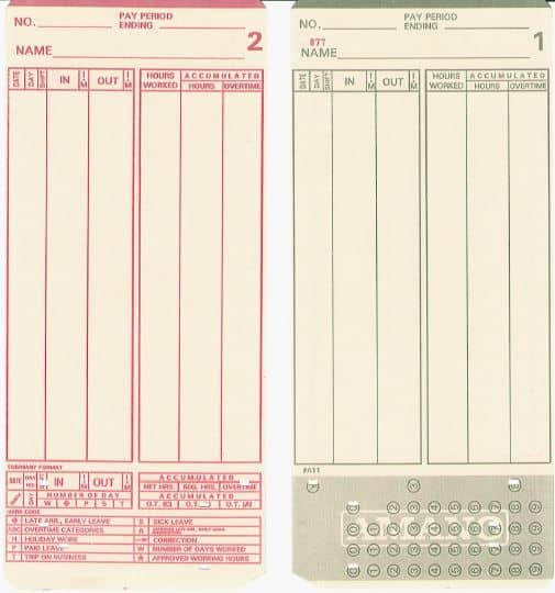 MJR 000-099 Time Cards - Packet of 100