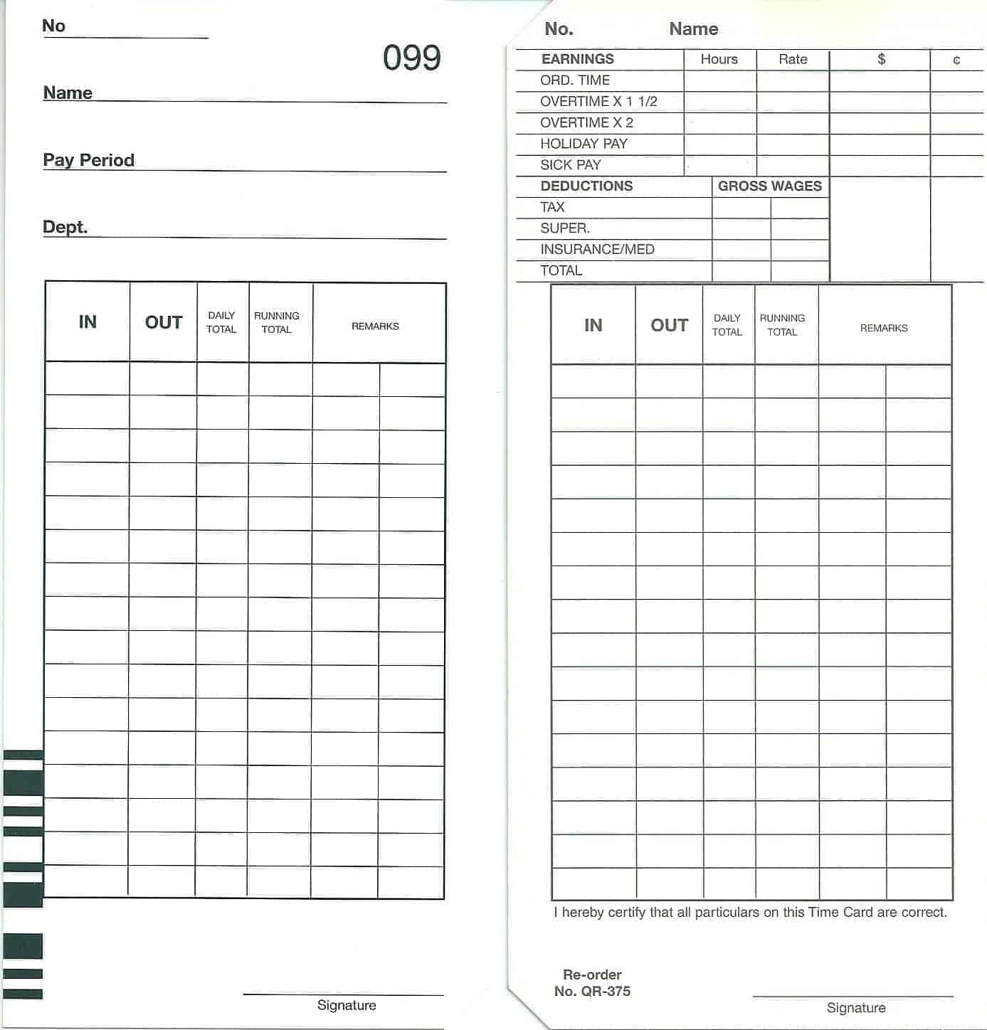 QR375D Time Cards - Packet of 100