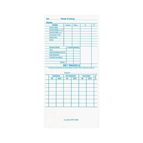 Kp210m Time Cards Packet 100